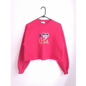 Vintage 90s Red I Love the USA Cropped Sweatshirt